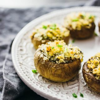 Asiago and jalapeño stuffed mushrooms