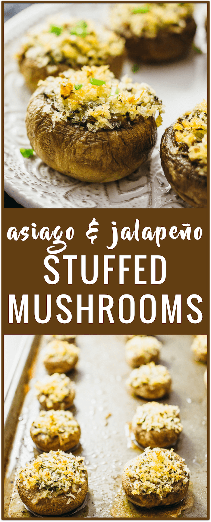 Asiago and jalapeño stuffed mushrooms recipe: Make these easy stuffed mushrooms with asiago cheese, bread crumbs, oregano, and diced jalapeños. No cream cheese needed.