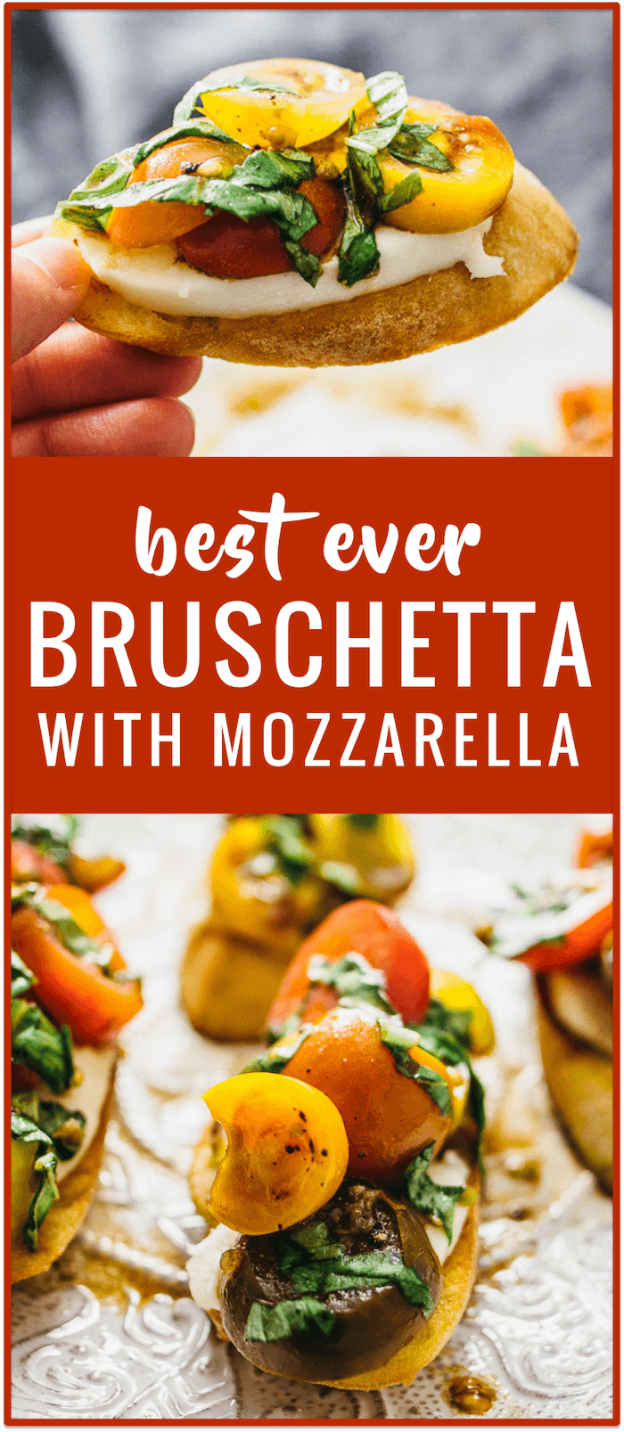 Favorite bruschetta with mozzarella appetizer party recipe (vegetarian) - This is my favorite way of making bruschetta: hot buttery skillet-toasted baguette slices with cold tomatoes, basil, garlic, mozzarella cheese, and balsamic vinegar.
