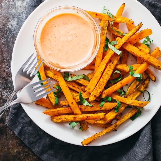 Garlic and basil sweet potato fries