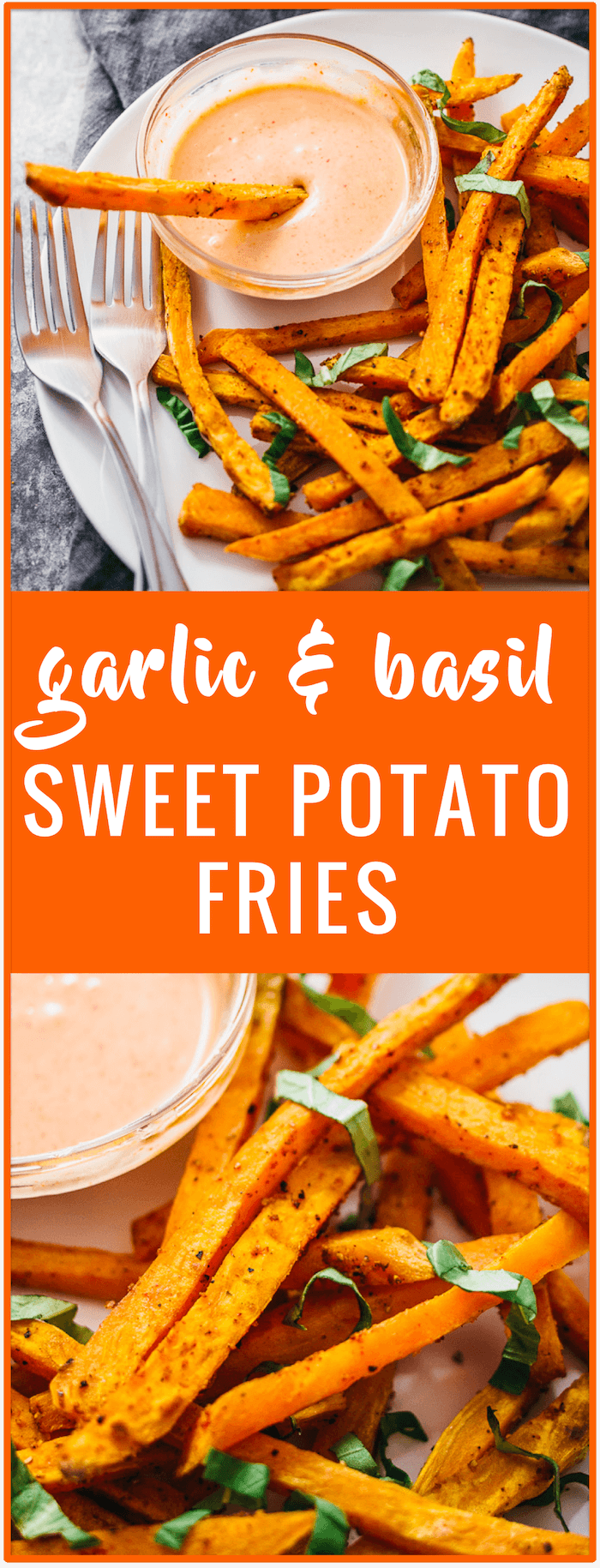 Garlic and basil sweet potato fries recipe - These healthy sweet potato fries are seasoned with garlic and basil, and baked in the oven until crispy. They are served with a spicy sriracha mayo dipping sauce.