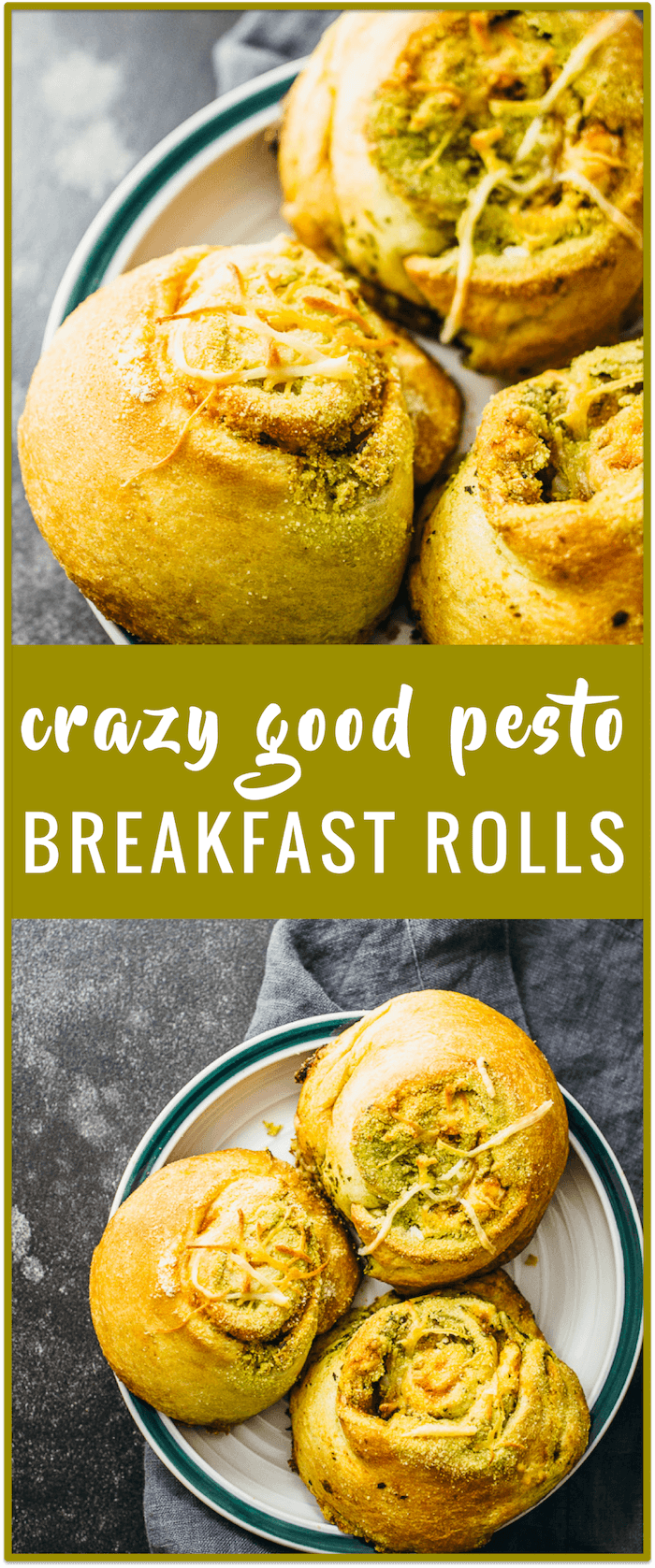 Pesto breakfast rolls recipe - These pesto breakfast rolls are made using crescent roll dough, and are stuffed with pesto sauce, tomato sauce, cheddar cheese, and oregano.