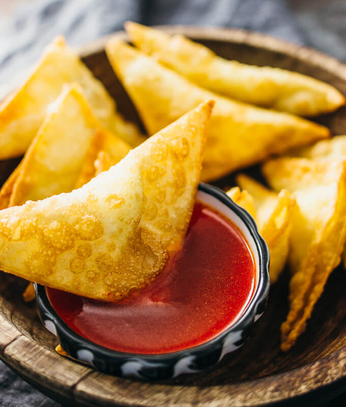 Spicy and sweet cream cheese fried wontons