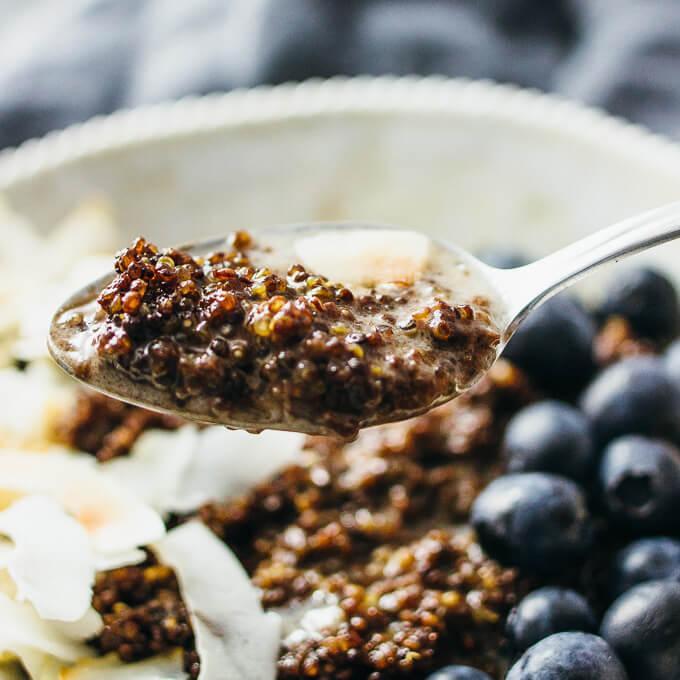 spooning up chocolate quinoa