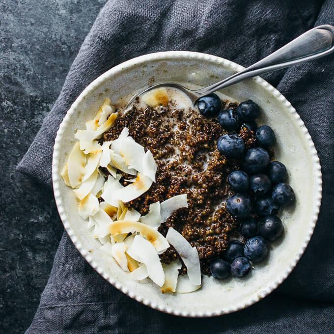 overhead view of chocolate quinoa breakfast bowl