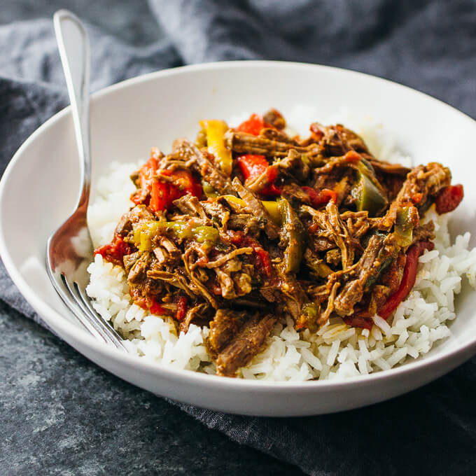 Ropa vieja is a comforting Cuban beef stew consisting of shredded beef ...