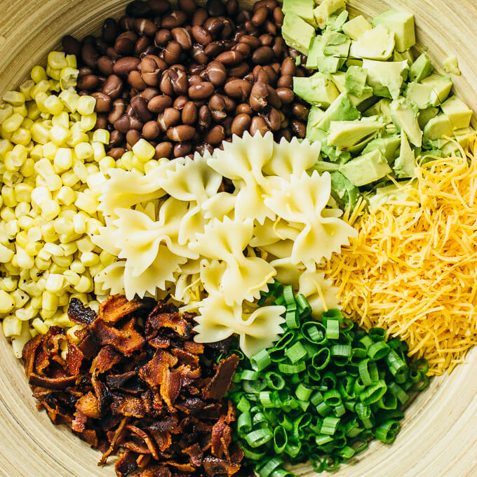 ingredients for making mexican pasta salad