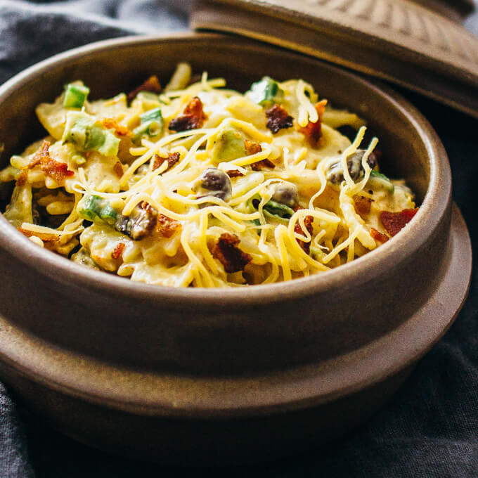 Favorite Mexican pasta salad with crispy bacon