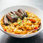 Skirt steak orzo pasta skillet