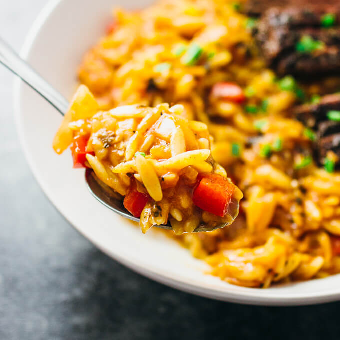 Skirt steak orzo pasta skillet