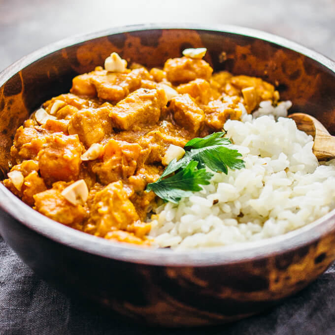 Chicken peanut stew with sweet potato