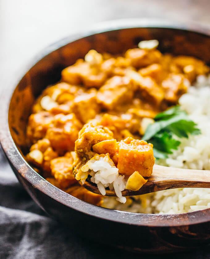 Chicken peanut stew with sweet potato