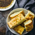 Homemade focaccia with Italian dipping oil