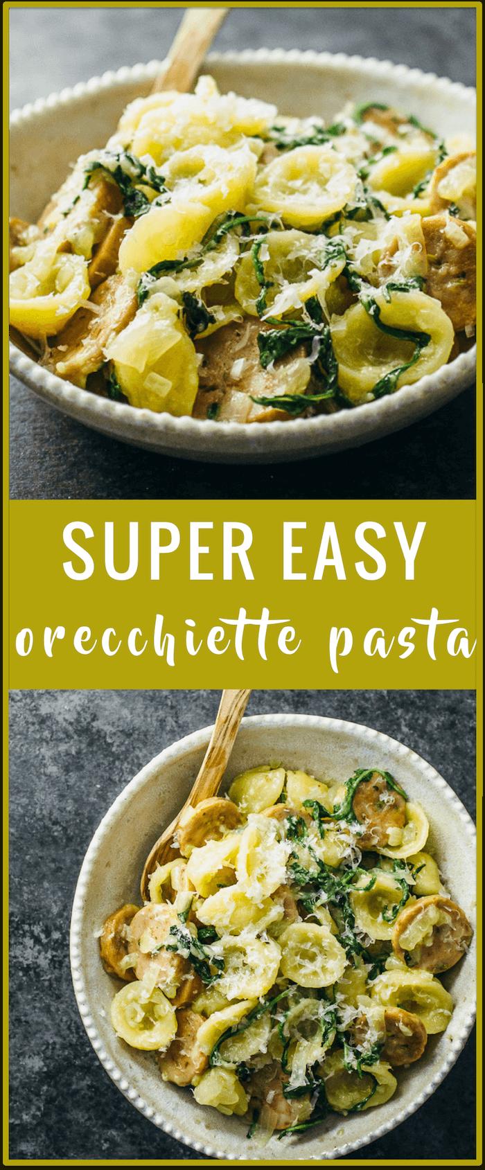 Orecchiette pasta recipe | easy pasta recipe | easy pasta dinner recipe | sausage arugula cheese onion | one pot | cheesy pasta recipe