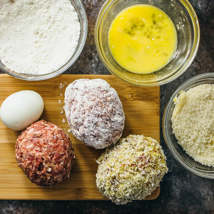 Scotch eggs with curry mustard sauce