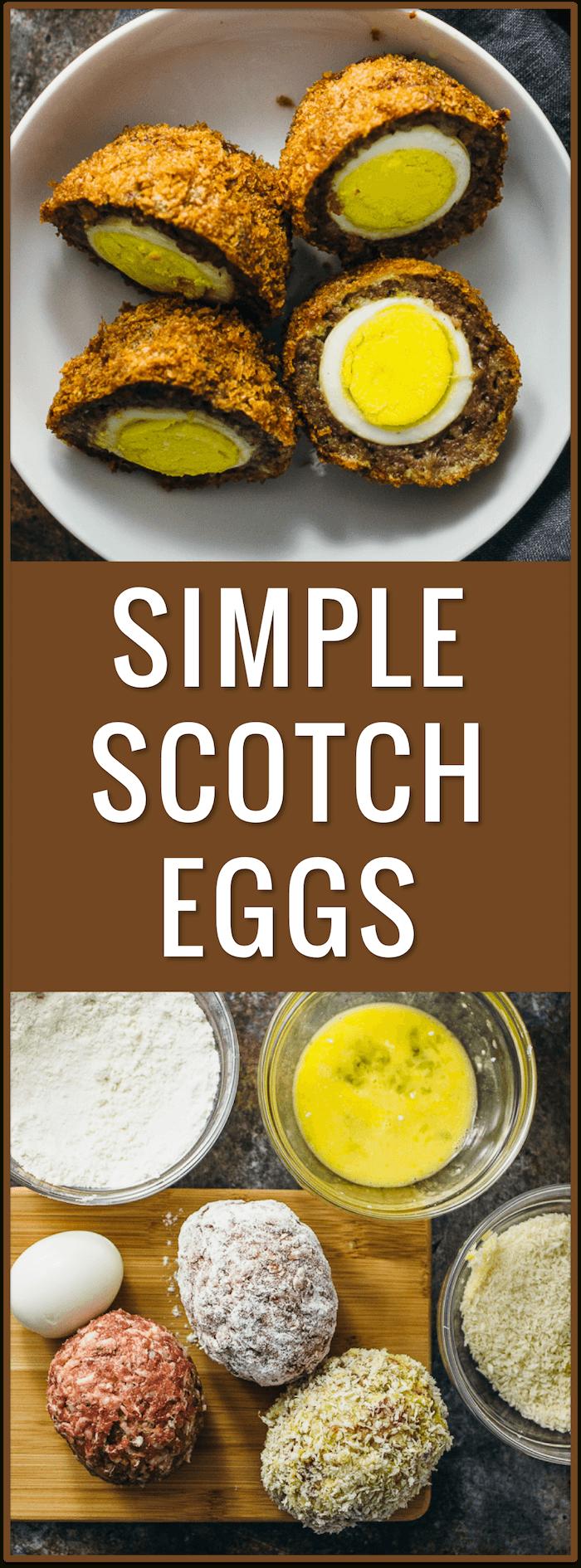 simple easy scotch eggs, baked, fried, sauce, scottish, irish, british, ground meat, pork sausage, dinner recipe, protein, portable snack