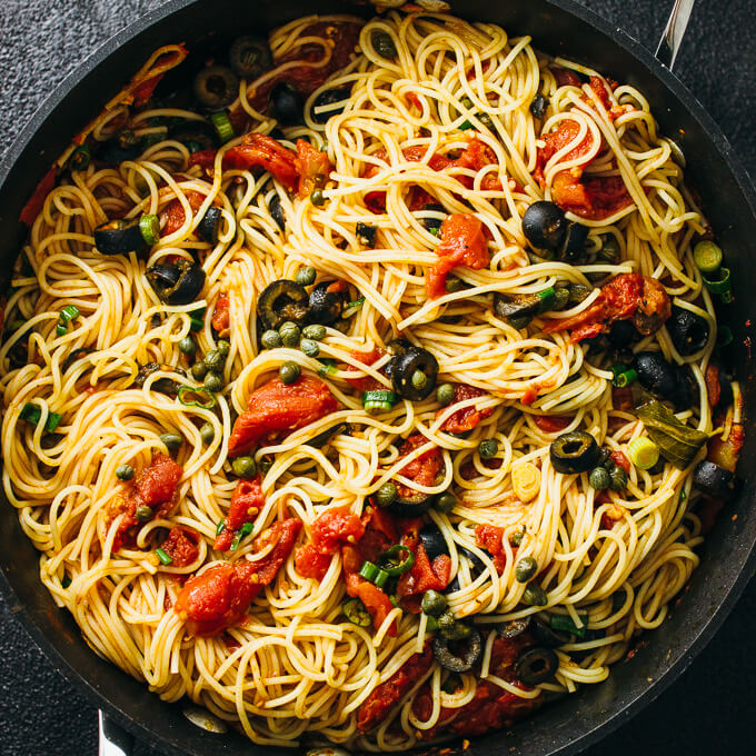 Spaghetti puttanesca with capers and olives