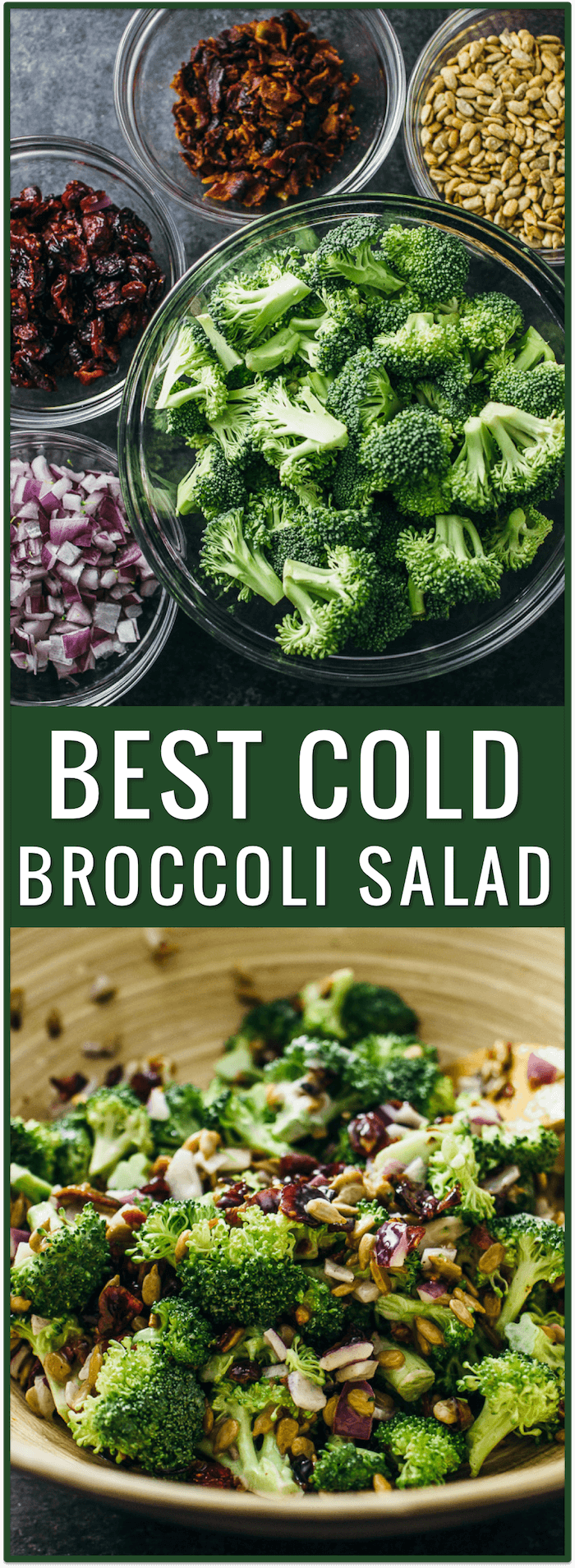 best cold broccoli salad with bacon and cranberries, raisins, healthy, easy, recipe, appetizer, side dish, simple, fast, dinner, lunch, snack, party, idea