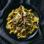 Easy beef stroganoff with flank steak and mushrooms