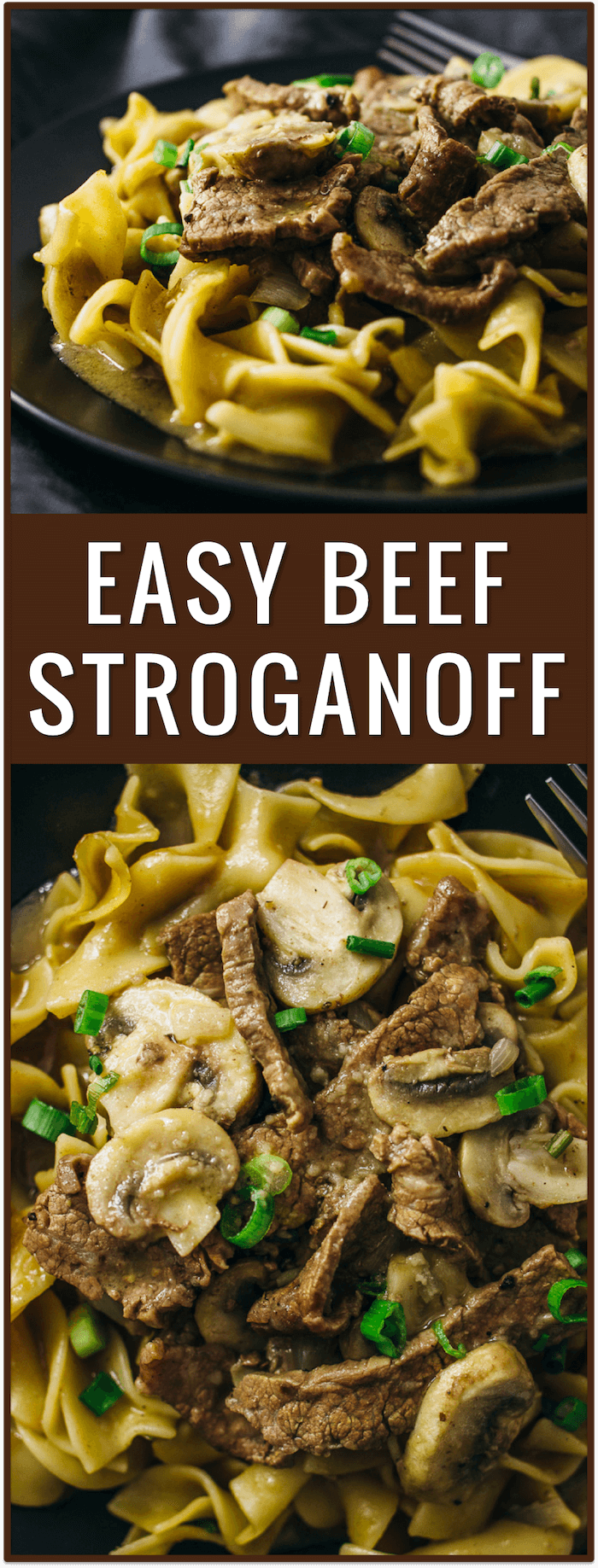 Easy beef stroganoff with flank steak and mushrooms, best beef stroganoff, classic beef stroganoff, beef stroganoff slow cooker, easy, dinner, recipe, pasta, dish, lunch, idea, noodles, comfort food, simple, fast, russian