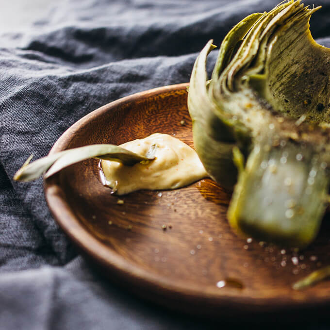 Instant Pot artichokes with spicy garlic mustard dip