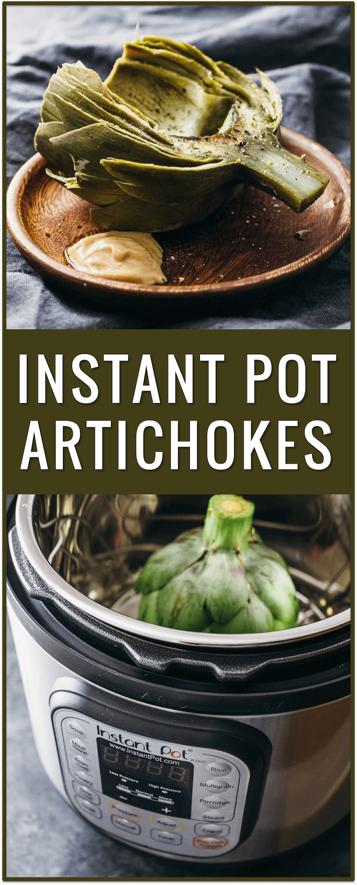 instant pot, electric pressure cooker, artichokes, dipping sauce, spicy garlic mustard dip, appetizer, dish, recipe, easy, simple, fast