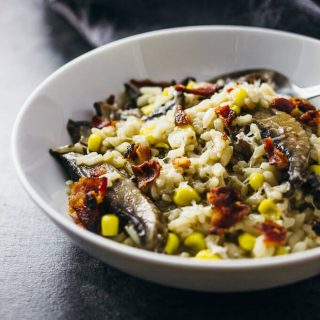 Instant pot mushroom risotto with bacon and corn