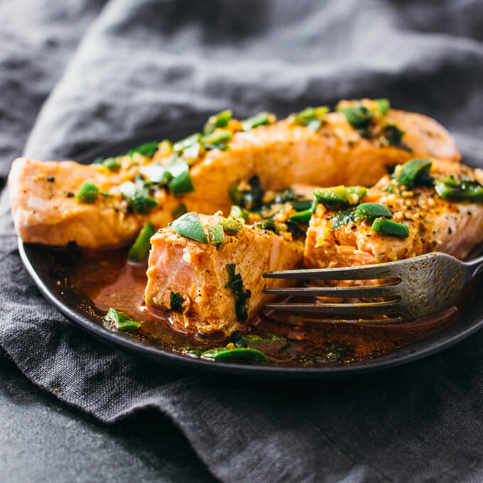 Cutting into instant pot salmon with a fork