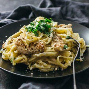 Lightened-up chicken alfredo pasta