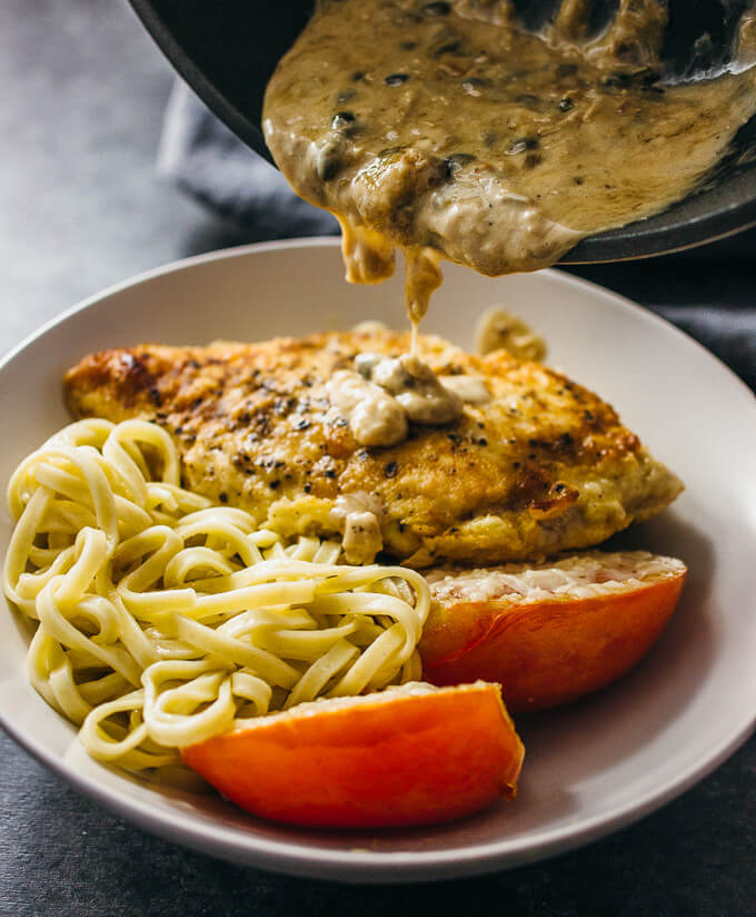 Roasted chicken with creamy caper sauce