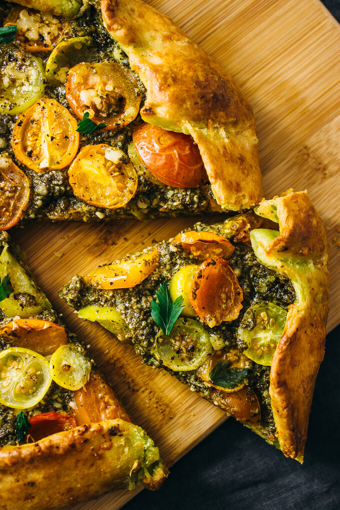 savory galette with pesto and heirloom tomatoes savory tooth