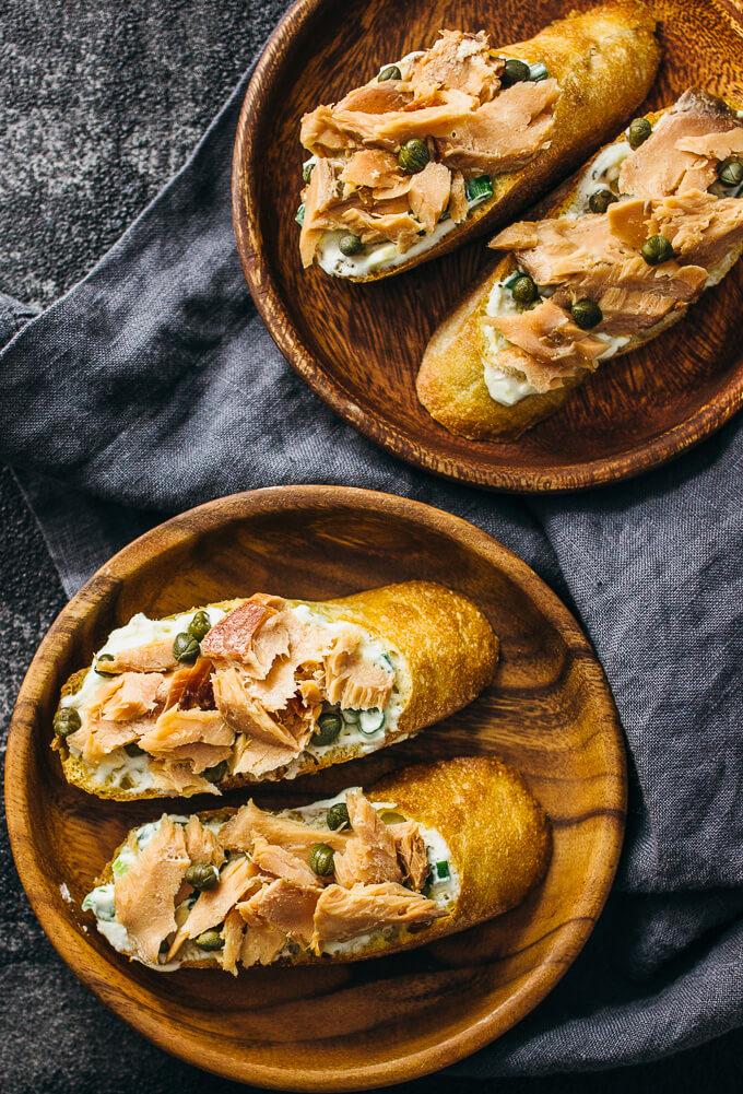 Smoked salmon crostini with lemon ricotta spread