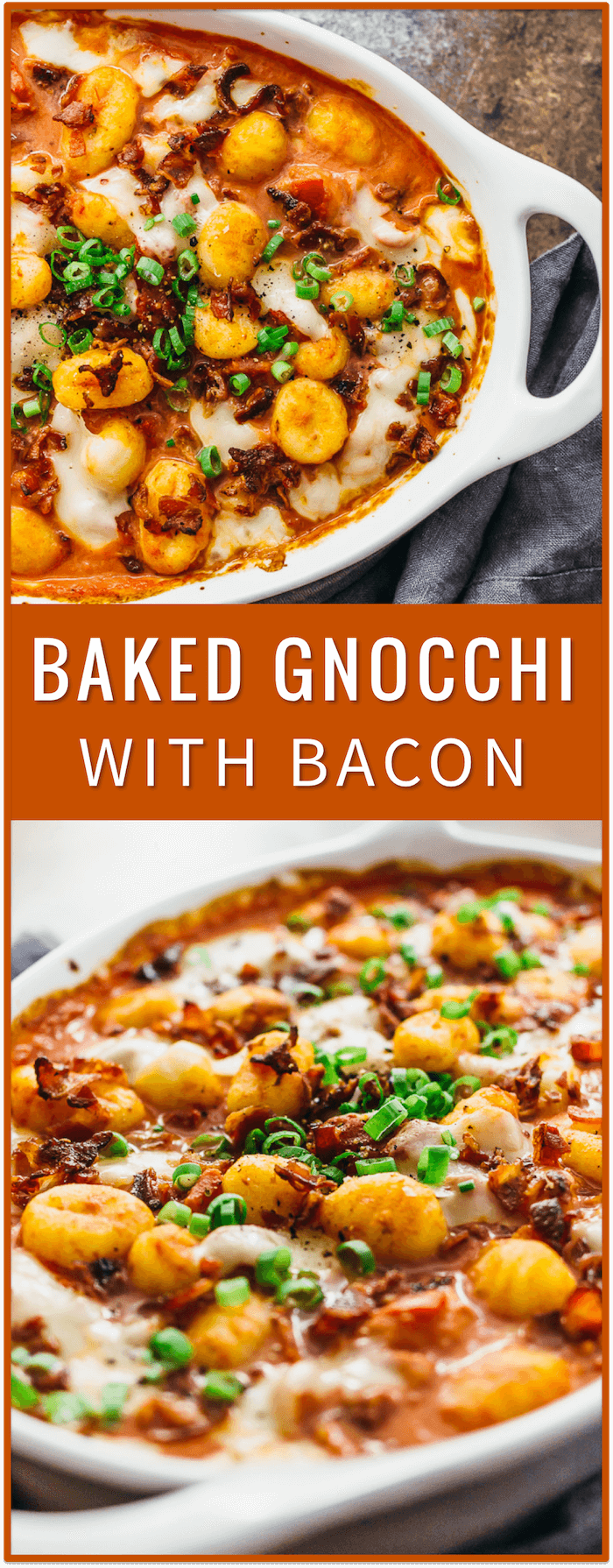 Baked gnocchi pasta recipe with bacon, sun-dried tomatoes, mozzarella cheese, oven baked gnocchi, baked gnocchi casserole, with chicken, with cheese, healthy, with kale, butter sauce, mac and cheese, bhg, oven, easy, pesto, ricotta