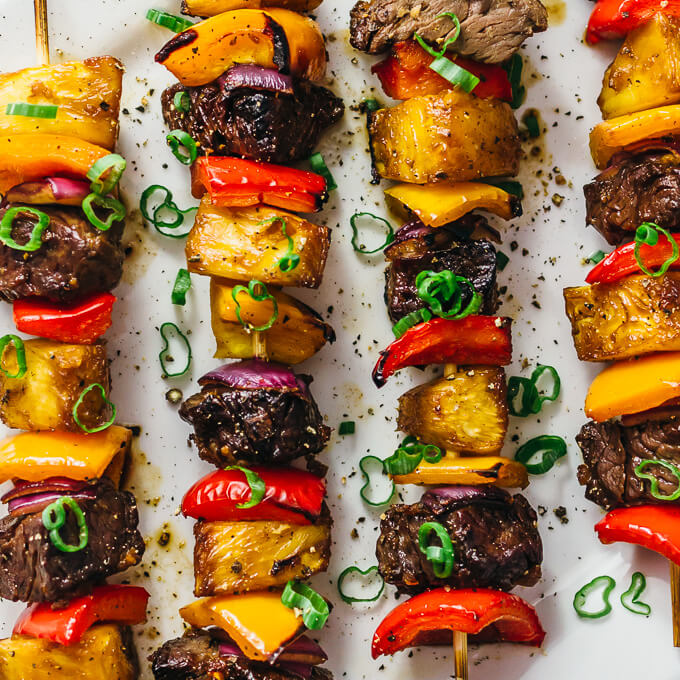 Crazy good hawaiian steak kabobs