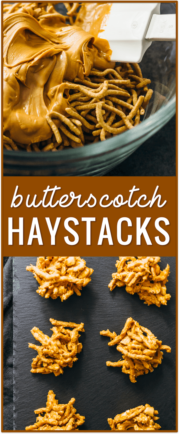 butterscotch haystacks with chow mein noodles, recipe, easy, dessert, marshmallows, peanut butter, christmas, pretzels, chocolate, no nuts, toll house, cookies