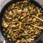 Easy beef with mushrooms and onions