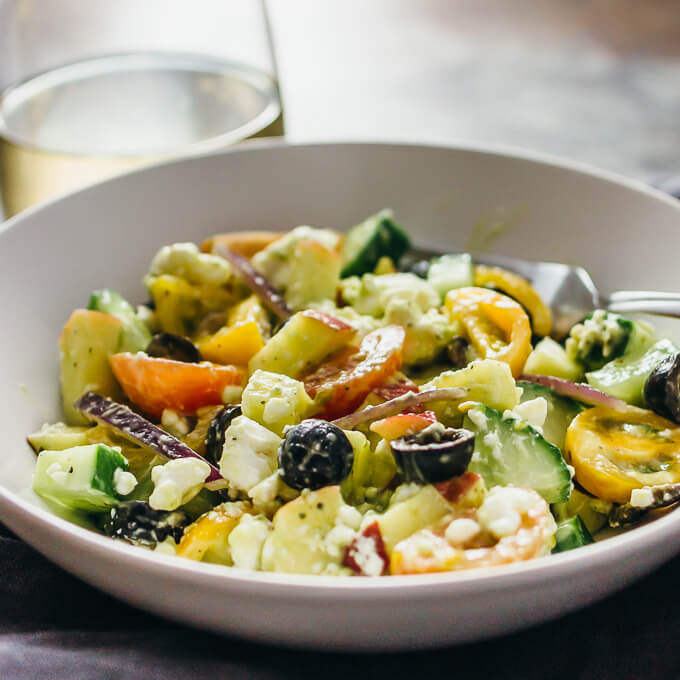 Best greek salad with creamy avocado dressing