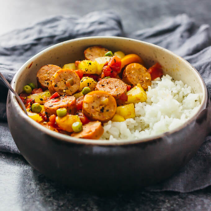 hawaiian sausage and peppers served in bowl