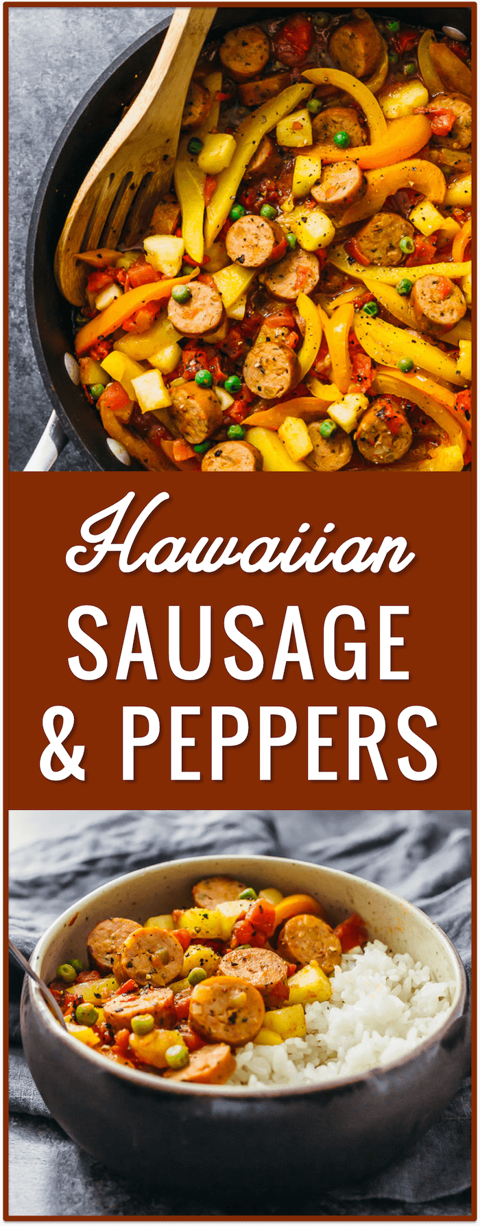 Hawaiian sausage and peppers with rice, easy, recipe, dinner, lunch, pineapples, slow cooker, italian, in oven, sauteed, skillet, crockpot, pasta, sandwich, baked, potatoes