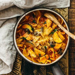 One pot chicken pasta with zucchini and olives