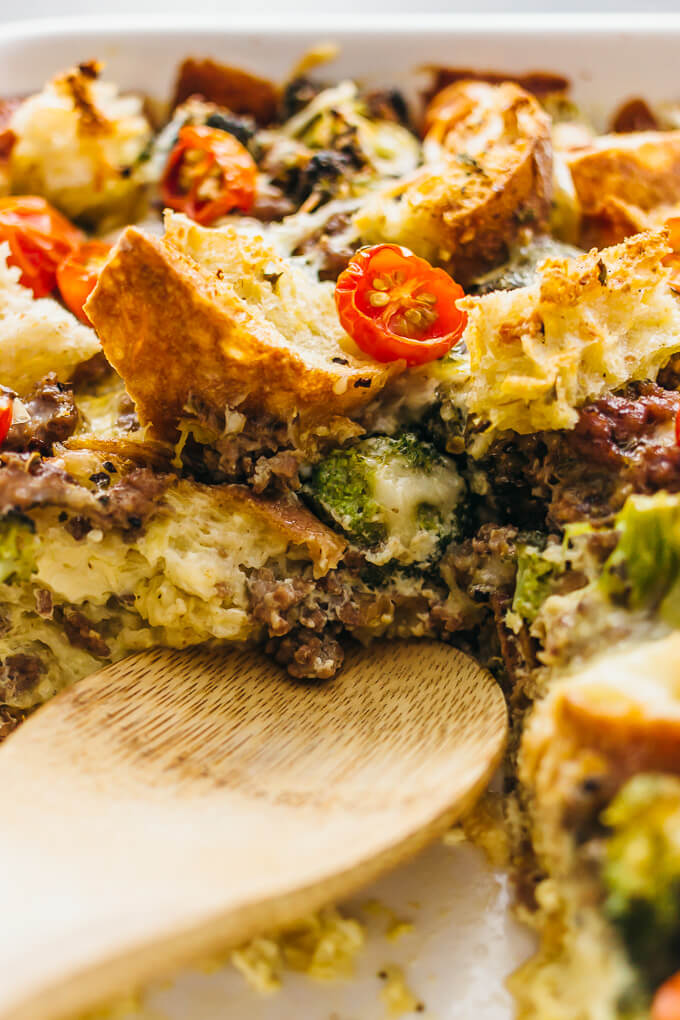 overnight breakfast strata with lamb - savory tooth