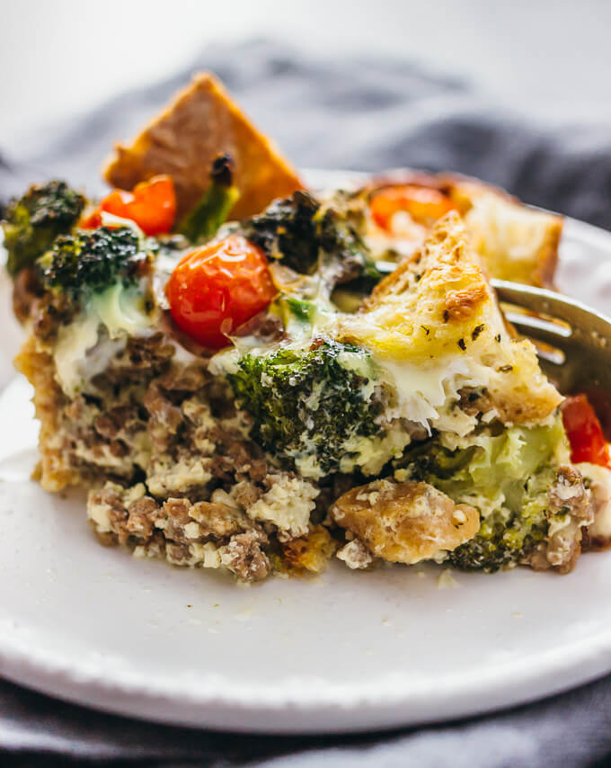 Overnight breakfast strata with lamb