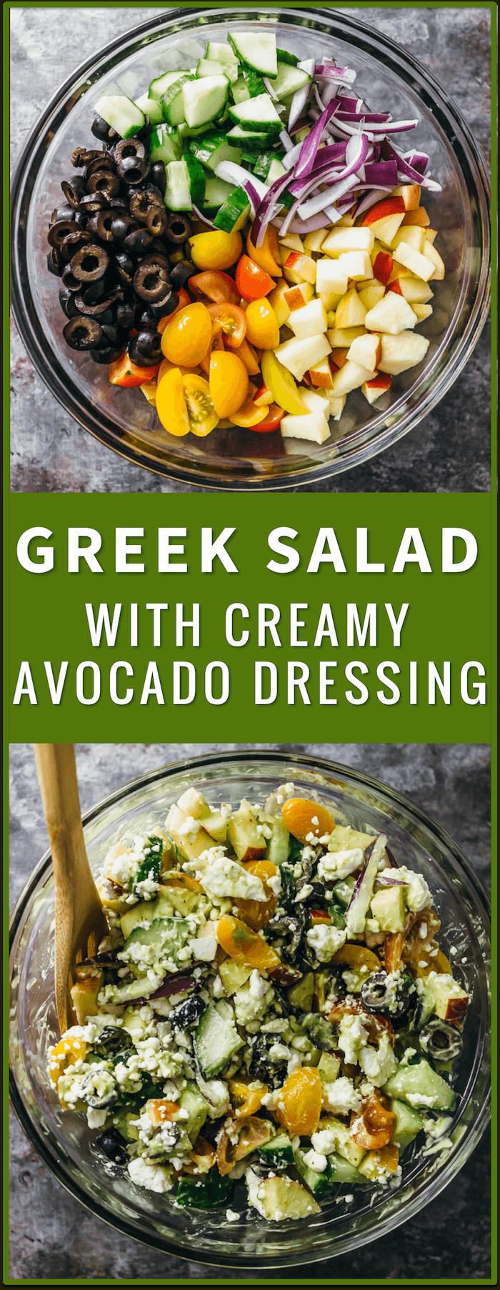 Greek salad with creamy avocado dressing, greek salad dressing recipe, traditional greek salad, greek pasta salad recipe, best greek salad recipe with chicken, easy greek salad recipe, chopped greek salad, healthy, ensalada griega greek salad, easy, authentic, pasta, cucumber