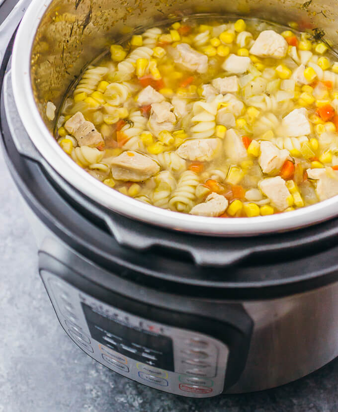 Here's an easy recipe for Instant Pot chicken noodle soup -- healthy, homemade, and from scratch.