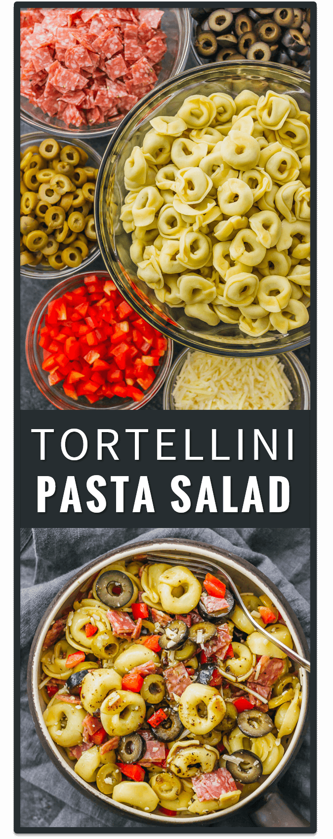This tortellini pasta salad with Italian dressing is a quick and easy recipe, and deliciously packed with mixed olives, salami, and cheese. healthy, simple, greek, ranch, creamy, cold, spinach, pesto.