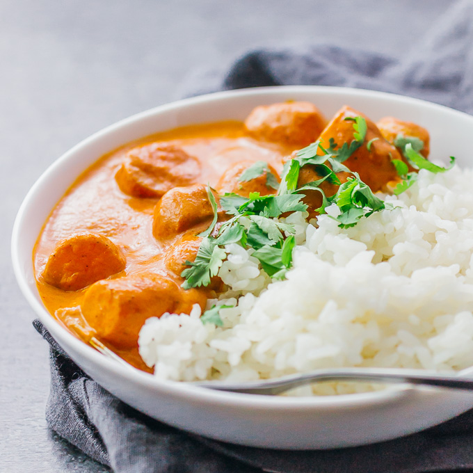 Easy vegetarian potato curry with a delicious orange sauce similar to an Indian tikka masala sauce