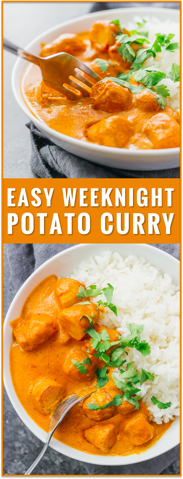 This easy vegetarian potato curry has a delicious orange sauce similar to an Indian tikka masala sauce. vegetarian chicken tikka masala recipe, dinner, fast, easy, recipe, dum aloo, vegan, indian, meals, sweet, chickpea, lentil, soup, thai, coconut