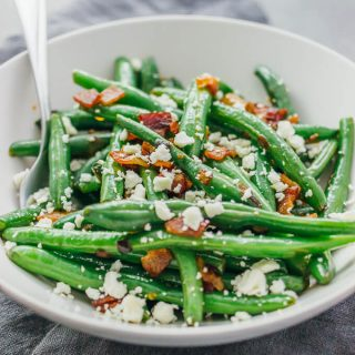 Garlic green beans with bacon and feta cheese