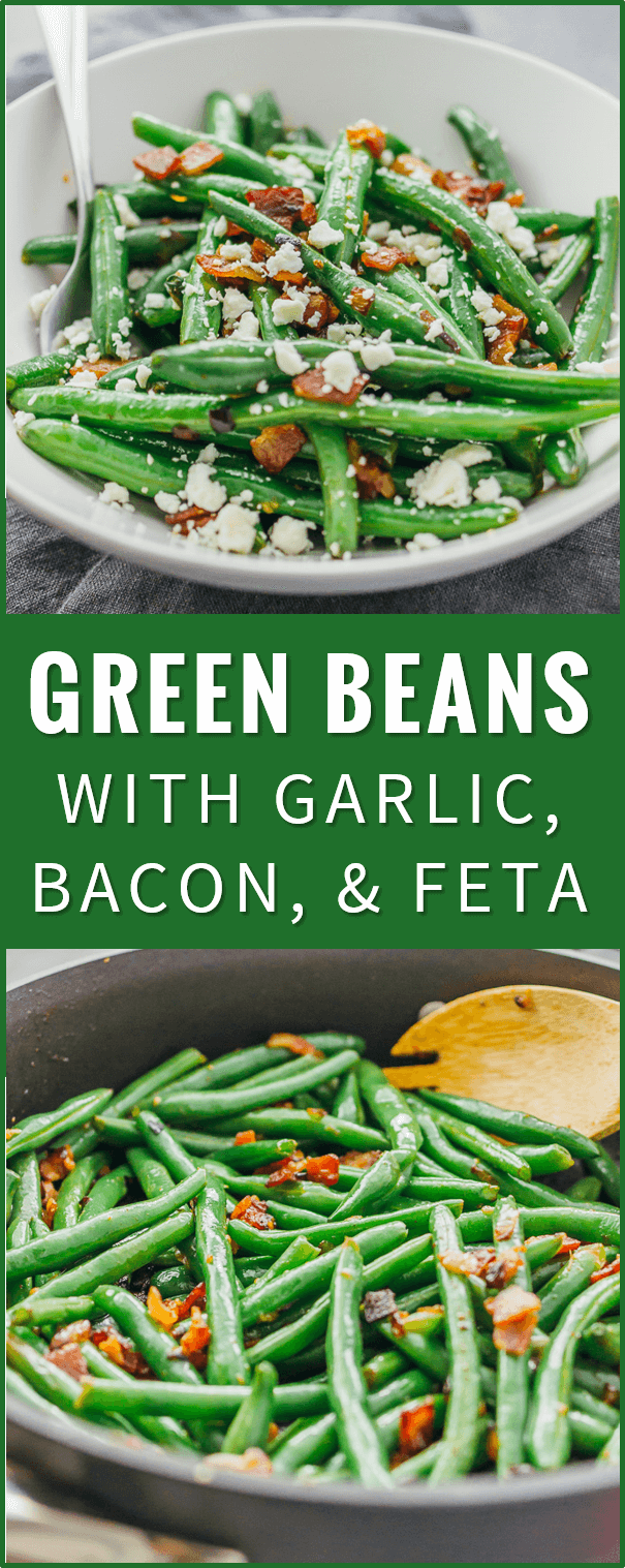 Learn how to cook garlic green beans sauteed with crispy diced bacon and crumbled feta cheese. chinese green beans recipe, steamed, spicy, saute, southern, boiled, bacon, oven, casserole, roasted, soup, fresh, recipes, crockpot, healthy