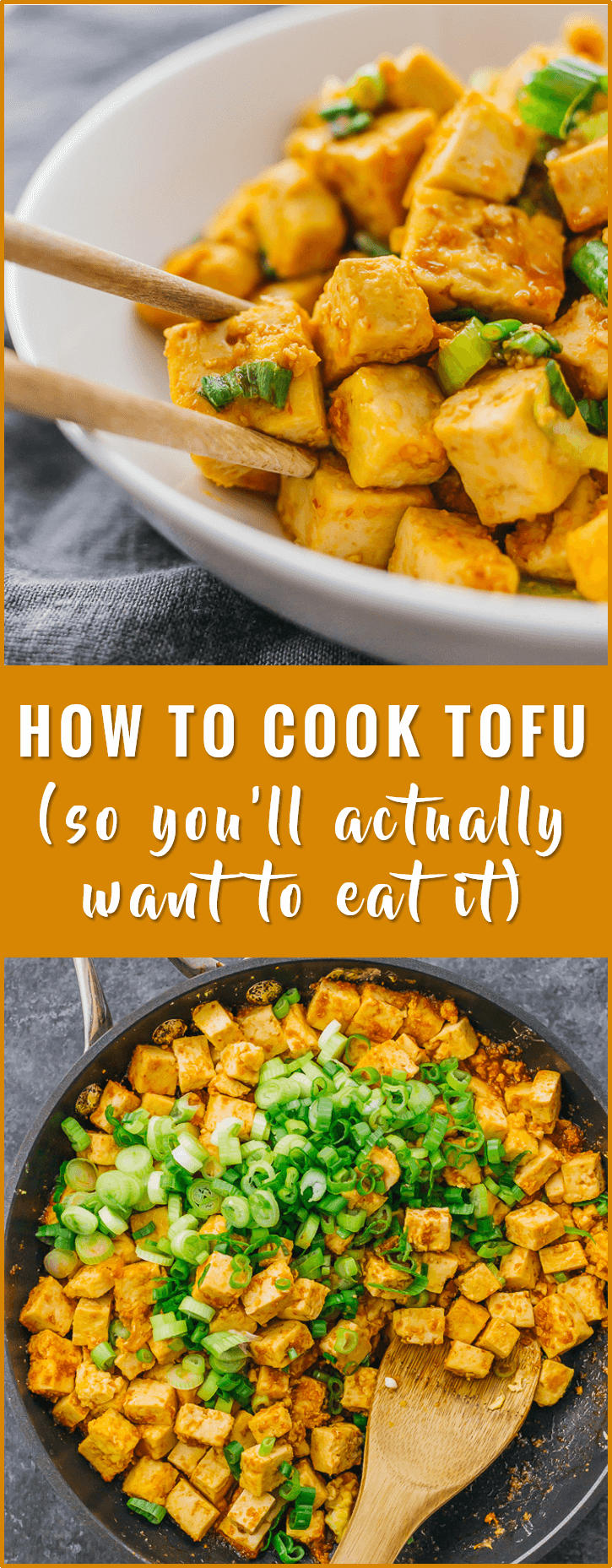 Learn how to cook tofu in a pan with a delicious sauce using this very simple recipe. vegetarian, baked, healthy, scramble, crispy, fried, stir fry, marinade, tacos, nuggets, bbq, spicy, in oven